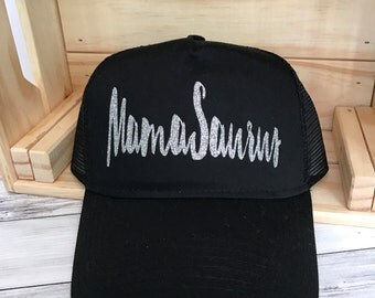 MamaSaurus GLITTER One Size Hat| Dinosaur | Mom gift | Mama | christmas gift | Dinos