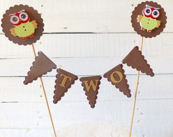 Owl Cake Topper - Second Birthday Cake Bunting - Look Who's Two - Woodland Party - Brown & Green