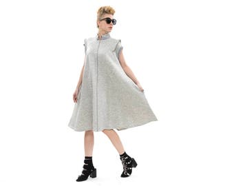 Grey dress, Hoodie Sweatshirt Dress with zipper, Oversized Cardigan, Sporty dress, Everyday dress, Loose dress, sleeveless