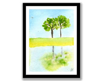 Two trees reflected in water,  Watercolor Painting, Print of Original Handmade and Signed, wall ready.wall art, desk art, tree, water, grass