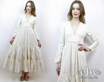 Hippie Wedding Dress Hippy Wedding Dress Crochet Dress Hippie Dress Boho Wedding Dress 70s Wedding Dress 70s Maxi Dress Gunne Sax Dress
