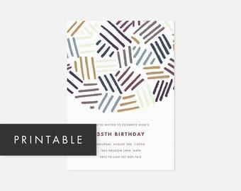Printable Invite Minimalist / Modern Printable Invitation / Bold Pattern / Colorful / Adult Birthday Party, Graduation Party