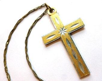 Gold & Silver DIAMOND CUT Cross, Vintage Twotone Lightweight Cross, Silver and Goldtone Cross with Triple Strand Neck Chain, Cross Necklace