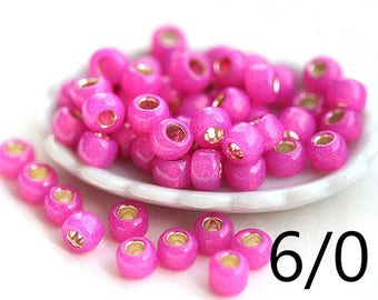 Bright Pink TOHO Seed beads, size 6/0, Silver-Lined Milky Hot Pink, N 2107, round, japanese glass - 10g - S308