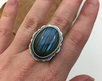 Labradorite Handmade Ring with Elegant Setting, Large Flashy Blue Stone - Gift for Her