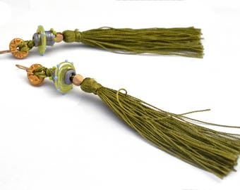 Unique jewelry, Beaded dangle earrings, Green earrings, Long earrings, Silk tassel earrings, Long fringe earrings, Unique earrings, Art