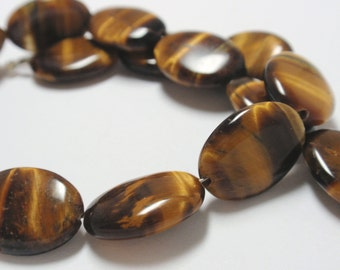 "Tigers Eye Oval Beads, 12x16mm Tigers Eye Natural Gemstone Beads, 9 1/2"" Strand - 15 Beads"