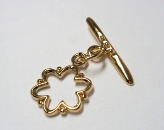 Gold Vermeil 13mm Flower Toggle (1 set)