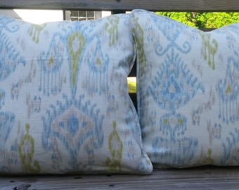 Reversible Blue, Lime Green and Cream IKAT  Pillow Cover-20 x 20 - Self Corded with Invisible Zipper