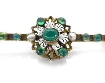 Antique Austro Hungarian Green Glass Enamel Pin Brooch
