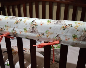 Baby Crib Rail Guard Cover - Little Tee pee, flowers, coral, blush