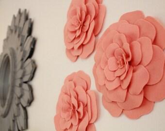 Flower Wall Decor- Set of 3 Felt Flowers- home decor, 3d wall art, flower wall art, nursery decor, room decor, baby shower gift