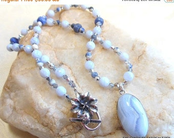 Holiday Sale Blue and silver necklace, blue lace agate pendant and beads, blue sodalite, silver crystals
