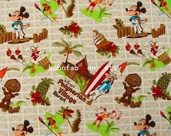 """2331  - 1 yard Cotton Poplin  fabric - Mickey, Donald Duck,tree, fruit(140cmx91.44cm,55""""x36"""")"""