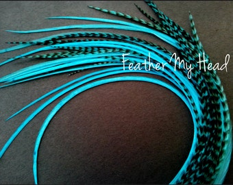 Feather Hair Extension - 5 Piece 9 - 12 inches Long (23-30 cm) Grizzly Stripe / Solid Mix Turquoise - Brights