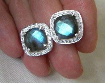 """Labradorite Earrings Handmade Earrings Semiprecious Gemstone 1/2"""" Sterling Silver Earrings Take 20% Off Blue Labradorite Jewelry Earrings"""
