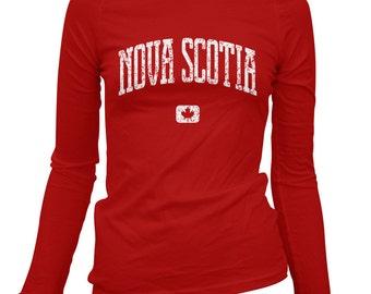Women's Nova Scotia Canada Long Sleeve Tee - S M L XL 2x - Ladies' Nova Scotia T-shirt, Gift For Her, Nova Scotian. Halifax Sydney Dalhousie