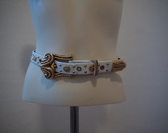Vintage ornate Cache made in St Marten belt, gold, 80s, white, unique and rare, great condition