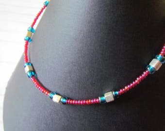 Glass Bead Anklet - Bright Raspberry Red Pink, Silver Lined Dark Aqua and Silver