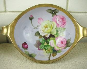 Vtg Noritake Morimura green wreath mark handled bowl