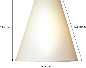 Cone style lamp shade. Translucent linen fabric. WHITE.