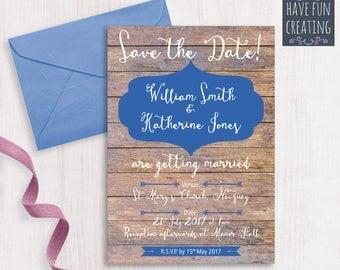 Wedding Invitation: Rustic Dark Wood - Print at home