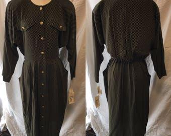 Retro vintage green polka dot dress 1980 large medium size 12