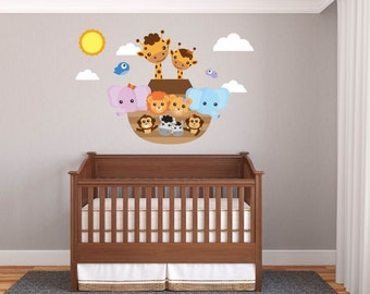 Nursery decals - wall decals - Children's decals - Vinyl wall decals - Boat decal - Lion decal - Zebra - Noah's ark decal - Giraffe - sun