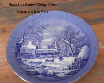 Currier and Ives The Farmer's Home Winter Plate Vintage