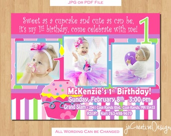 Cupcake Invitation 1st Birthday Girl invitation 1st birthday girl decorations cupcake birthday invitation Girl birthday party invitation