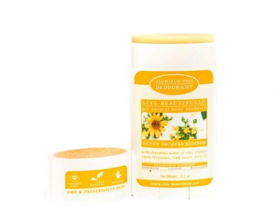 Natural Deodorant, Sunny Orchard Blossom - Aluminum Free Deodorant - Ripe Orange, Apple Blossoms, Spiced Flowers
