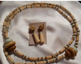 25% OFF SALE Avon Indian Summer Long Plastic Bead Necklace and Matching Dangle Earrings Neutral Colors