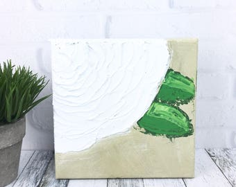 Mini White Flower Painting, Small Original Artwork, Textured Abstract Floral Canvas, White Modern Art 5 x 5 Gallery Wrapped Farmhouse Style