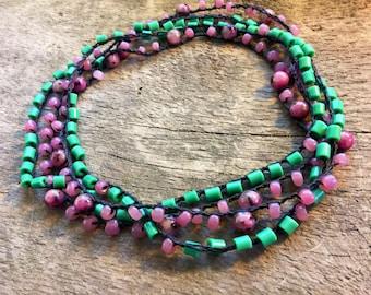 Huckleberry Heaven: Doubled Stranded Versatile crocheted necklace / bracelet / belt / headband