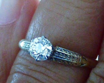 1910s Edwardian Platinum 14k .30 carat old mine cut diamond engagement ring. Size 6.