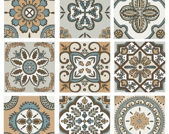 Boho Decorative Tile Set Backsplash Ceramic Artistic Nine Matching Designs