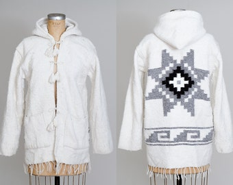 Vintage Mexican Chimayo Style White Knit Drug Rug Hooded Jacket