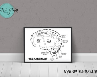 Duo of Male and Female Brain Diagrams Black and White Print  - Humour Fun Print - downloadable digital file