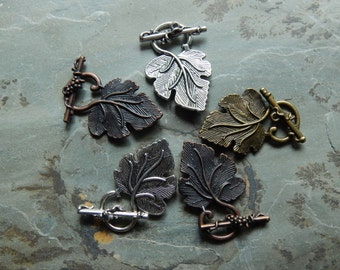 Assorted Alloy Grape Leaf and Vine Toggle Clasps - 5 Sets