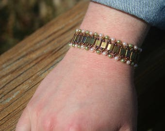 Metallic Gold Iris Tila Bead Bracelet