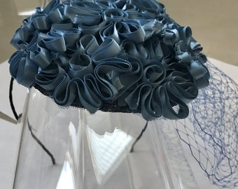 Steel Blue Satin Flower Fascinator Hat with Veil and Satin Headband, for weddings, parties, special occasions