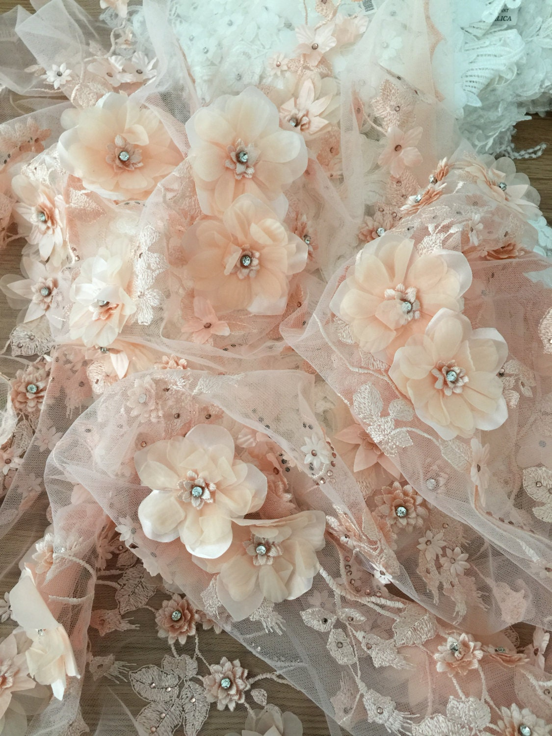 Peach 3d lace fabric luxury3d flowers applique wedding for Flower embroidered wedding dress