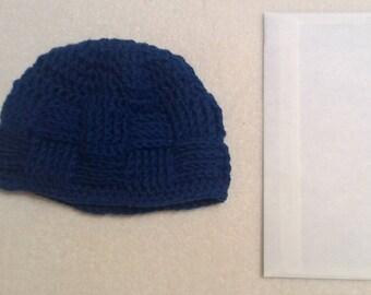 Royal Blue Basket Weave Stitch Beanie Hat