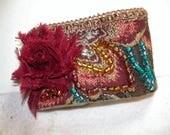 Beaded Fabric Cuff Bracelet - Burgundy- Blue - Gold - Hand Beaded fabric cuff - 2 x 6 1/2 inches