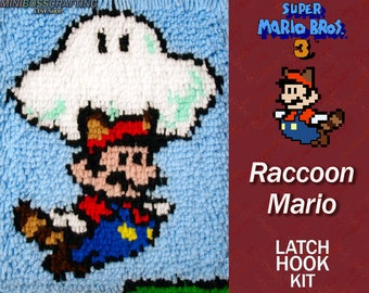 Super Mario: Raccoon Mario with Cloud - Latch Hook Kit - DIY Latch Hook 9.5*13 Inches