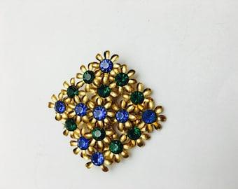 Blue & Green Flower BROOCH, Art Nouveau, Vintage Rhinestones, Gold Tone, Item No. B785