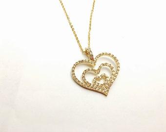 Vintage Nolan Miller Glamour Collection Pendant & Necklace, Heart Shape, Rhinestones, Gold Tone, Item No. B096