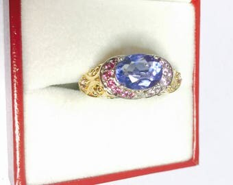 Art Deco Sapphire ring size 9., vintage Sterling silver, stamped, Clearance Sale, item No. S517