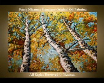 Painting on canvas Birches Original Palette Knife Ready to Hang by P. Nizamas