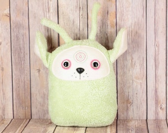 Alien Dog Plush Toy, Unique Dog Plushie, Green Alien Stuffed Animal, Handmade Alien Plushie, Minky Dog Pillow Home Decor, Ready to Ship